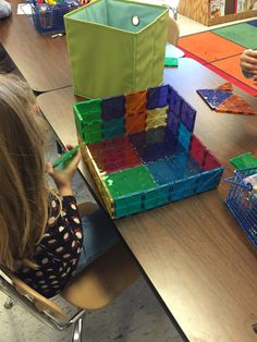 Magna-Tiles in kindergarten!  Love seeing what they come up with next!