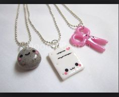 Rock Paper Scissors Best Friends Kawaii Cute Polymer Clay Charms Necklace - 3 Piece Set Love This! Cute Polymer Clay, Cute Clay, Fimo Clay, Polymer Clay Charms, Polymer Clay Projects, Polymer Clay Creations, Clay Crafts, Bff Necklaces, Best Friend Necklaces