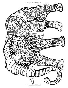 "Awesome Animals : A Stress Management Coloring Book For Adults: Penny Farthing Graphics ~ see my ""Zentangles Elephants"" board for more...."