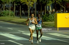 Gelindo Bordin of Italy (left) and Ahmed Saleh of Djibouti in action during the Mens Marathon event of the 1988 Olympic Games in Seoul, South Korea. Bordin won the gold medal and Saleh the bronze. \ Mandatory Credit: Mike Powell/Allsport