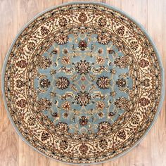 Noble Sarouk Light Blue Persian Floral Oriental Formal Traditional 4 Round (3'11') Area Rug Easy to Clean Stain Fade Resistant Shed Free Modern Contemporary Transitional Soft Living Dining Room Rug * Visit the image link more details. (This is an affiliate link and I receive a commission for the sales)