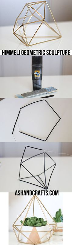 Himmeli Geometric Sculpture is part of Diy déco - Learn how to create these chic himmeli geometric sculptures for a modern, sleek look Geometric Sculpture, Diy Casa, Creation Deco, Ideias Diy, Diy Décoration, Home And Deco, Diy Room Decor, Home Decor, Diy Projects To Try