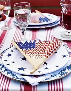 Flag fan - so cute for fourth of July