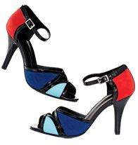 "Color Pop Strappy Heel-Color-blocked faux-suede upper with patent-leatherlike trim. Heel, 3 3/8"" H. Whole sizes only. Half sizes, order one size up."