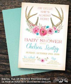 boho baby shower invitation deer floral invites printed invitation or printable digital file girl gold pink teal blue antler horns