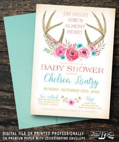 Check out this item in my Etsy shop https://www.etsy.com/listing/464174826/boho-baby-shower-invitation-deer-floral