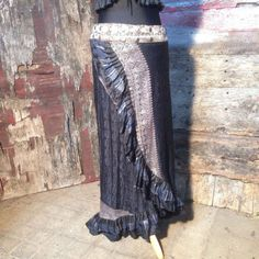 New! M-L DARK DIETA, Flamenco Ruffle Skirt, Silk Sari, Tribal, Burning Man, Belly Dance, Bohemian, ATS, Steam Punk, Gypsy, Festival, Barocco