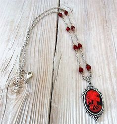 Skeleton Woman Gothic Cameo Pendant Necklace Ruby Red Beaded