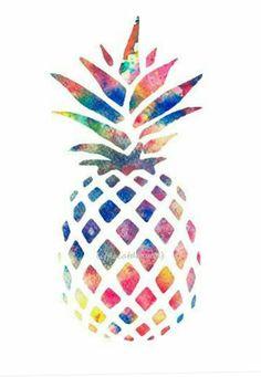 Pineapple Print Rainbow Pineapple Drawing Abstract Kitchen Wall Art Wall Decor…