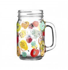 Kilner Rétro Vintage Style Jam Jar Handled Mug verre Choix de Couleurs