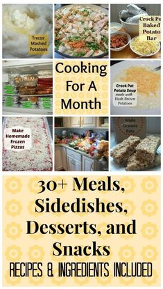 meals Bulk Cooking, Freezer Cooking, Cooking Recipes, Cooking Ideas, Side Dish Recipes, Snack Recipes, Dishes Recipes, Side Dishes, Kitchens
