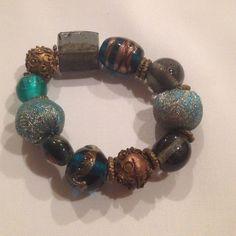 Teal & metallic glass bead bracelet, sale!! Fun colorful green & gold bracelet, from Düsseldorf Germany. Second image is how it looks on a very small wrist. Jewelry Bracelets