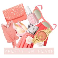 pretty In peach. by emitsi25 on Polyvore featuring polyvore fashion style Monsoon Christian Louboutin Vera Bradley Michael Kors House of Harlow 1960 Essie