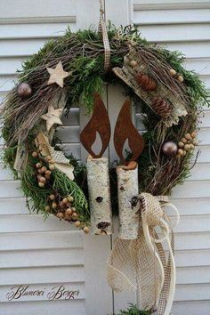 Love this rustic Christmas wreath. Would work for winter decor after the holidays too. Rustic Christmas, Winter Christmas, Christmas Home, Christmas Ornaments, Xmas Wreaths, Door Wreaths, Rustic Wreaths, Holiday Crafts, Holiday Decor