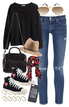 """""""outfit for college"""" by im-emma ❤ liked on Polyvore featuring ASOS, Citizens of Humanity, H&M, Alexander Wang, J.Crew and Ray-Ban"""