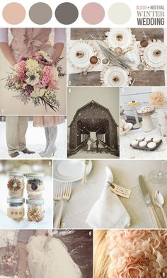 subtle and beautiful color palette for winter wedding...    bouquet is gorgeous, place settings and jar bows are great