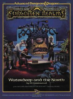 FR1 Waterdeep and the North (1e) - Forgotten Realms | Book cover and interior art for Advanced Dungeons and Dragons 1.0 - Advanced Dungeons & Dragons, D&D, DND, AD&D, ADND, 1st Edition, 1st Ed., 1.0, 1E, OSRIC, OSR, fantasy, Roleplaying Game, Role Playing Game, RPG, Wizards of the Coast, WotC, TSR Inc. | Create your own roleplaying game books w/ RPG Bard: www.rpgbard.com | Not Trusty Sword art: click artwork for source