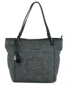 Shoppertasche kimmidoll grau Mandala Stickerei Glitzersteine - Bags & more Tote Bag, Bags, Style, Fashion, Embroidery, Grey, Handbags, Swag, Moda