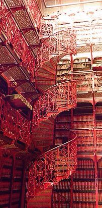 Red library stairs
