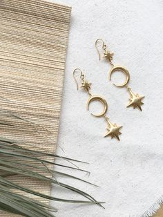 Gold Crescent Moon and Starburst Earrings Starburst Earrings, Moon, Personalized Items, Clothes For Women, Bracelets, Jewellery, Shopping, Accessories, Stars