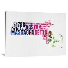 Naxart Studio 'Massachusetts Watercolor Word Cloud' Stretched Canvas Wall Art