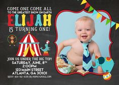 Printable Circus / Carnival Vintage Birthday Party Invitation With Bright Colors and Cute Animals