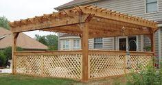 Western Red Cedar Pergola with lattice side walls.