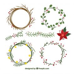 corona dibujo Set of hand-drawn christmas wreaths Free Vector Christmas Doodles, Diy Christmas Cards, Christmas Design, Xmas Cards, Christmas Art, Christmas Projects, All Things Christmas, Handmade Christmas, Holiday Crafts