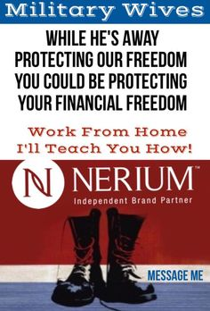 #Military #workfromhome #Nerium I love what I do! Just trying to reach out to others to see if Nerium will fit into your life. Message me or visit/friend me on Facebook. Click this photo to take you to my web page harrynjessica.nerium.com