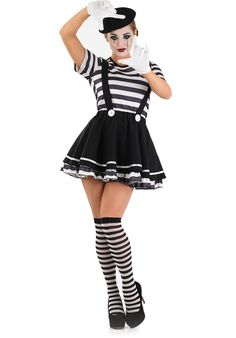 Artist Female Mime Costume - Funny Costumes at Escapade