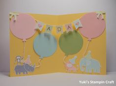 スタンピンアップ ナンバー・オブ・イヤーズとズー・ベイビーズ・スタンプセットで作ったバースデーカード中はこんな感じにしてみました! Inside of birthday card using Number Of Years stamp set, Zoo Babies stamp set, Framelits Circle Collection and Large Number die, Stampin' Up!