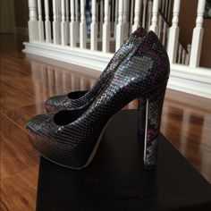 """Brian atwood pumps Snake print. Purple accents. B Brian Atwood. Worn once. Perfect conditon. No box. 5"""" heel. Open to offers. No trades. B Brian Atwood Shoes Heels"""