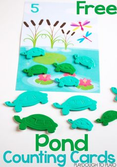 """Free pond counting cards! Great preschool math activity for a spring unit. You could swap the turtles out for ducks and use it with the """"Five Little Ducks"""" rhyme!"""