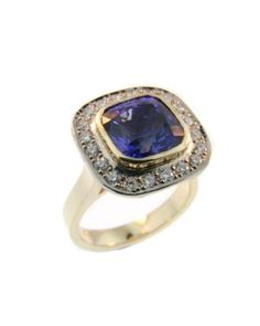 18ct Yellow and White Gold Sapphire and Diamond Ring made at Cameron Jewellery