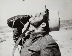 A free French legionnaire is drinking near Bir Hakeim, 1942. Water supplies was a huge concern in this desert in the middle of nowhere.