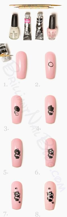 kitty cat #nailart #nails - repinned by http://www.naildesignshop.nl I'd probably stop at step 4