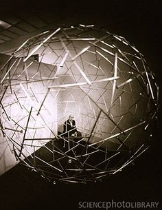 Portrait of Richard Buckminster Fuller with dome
