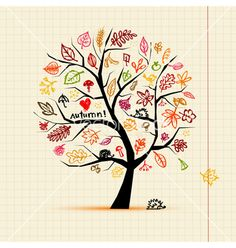 Buy Autumn Tree, Sketch Drawing for your Design by Kudryashka on GraphicRiver. Autumn tree, sketch drawing for your design Tree Drawings Pencil, Easy Drawings, Tree Sketches, Drawing Sketches, Clipart, Embroidery Patterns, Hand Embroidery, Hedgehog Drawing, Illustrator