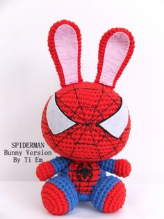 Spiderman - Bunny version, Stuffed cotton crochet toys, plush doll crochet big amigurumi, fan-art crochet toys, Easter crochet gifts