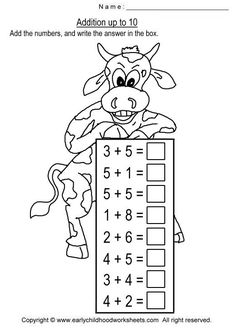 Addition worksheets for early childhood education, preschool, kindergarten kids: add the numbers up to and write the correct answer in the box. Kindergarten Math Worksheets, School Worksheets, Preschool Math, Math Activities, Math Drills, Build Math, Math Addition, First Grade Math, Math For Kids