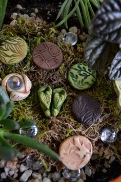 And stepping stones and mini gazing ball - fairy garden, miniatures