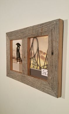 Weathered Grey Barn Siding Double Picture Frame Rustic