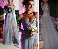 Long sleeve prom dress,A-line sequins long formal dress,evening dresses