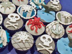 Gray, navy, and white nautical pirate baby shower cupcakes by Joy's Cake Studio