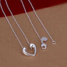 Hot-Fashion Womens Silver Plated Love Heart Chain Necklace Pendant Free Shipping