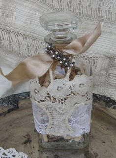 Vintage Bottle with Lace