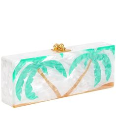 Edie Parker Flavia Palm Tree Reissue White Handbag Clutch Kelly Green Leaves Gold Clasp Feature Image