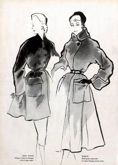 Coats by Patou and Worth, 1951