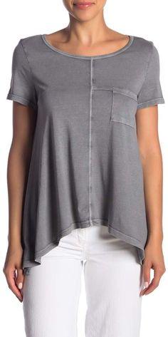 6194e3961db579 Melrose and Market Short Sleeve Seam Detail Pocket Tee (Regular   Petite)  Petite