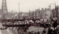 The 1890s | Bathing Machines at Blackpool in the 1890s. Old Pictures, Old Photos, Blackpool Uk, British Seaside, Local History, Countryside, Paris Skyline, Bathing, Places To Go